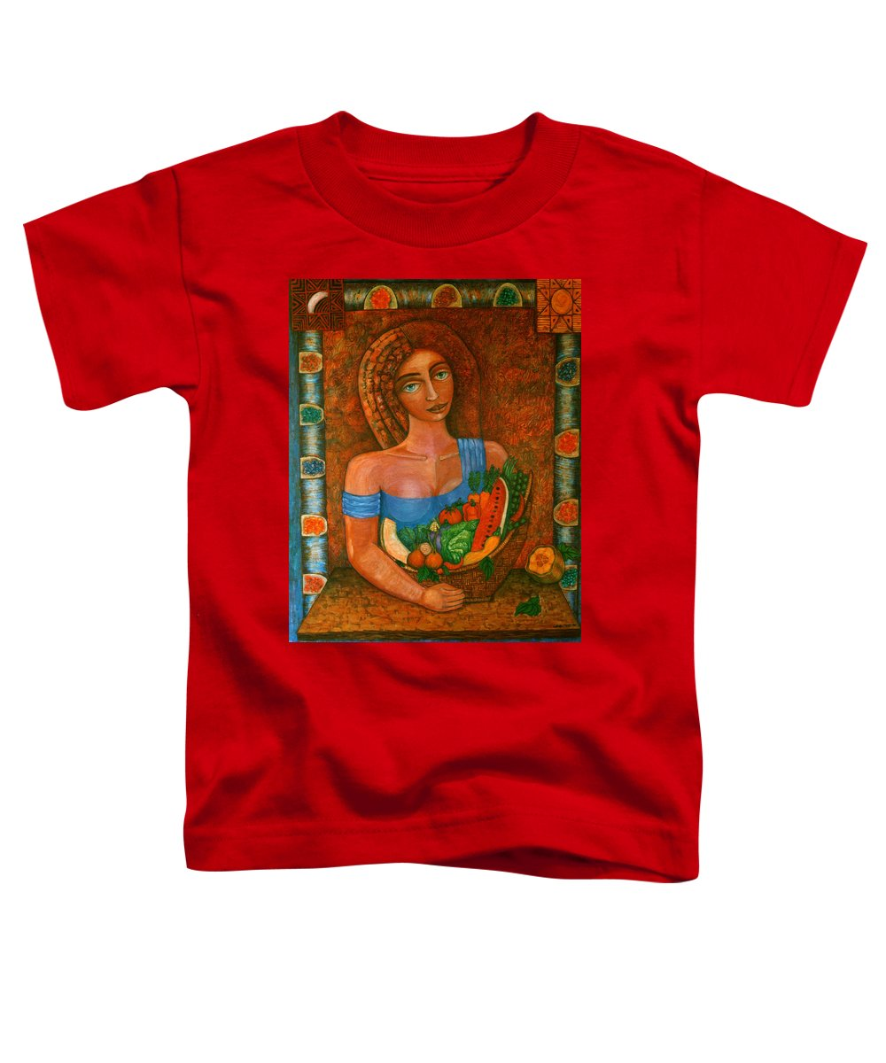 Acrylic Toddler T-Shirt featuring the painting Flora - Goddess Of The Seeds by Madalena Lobao-Tello