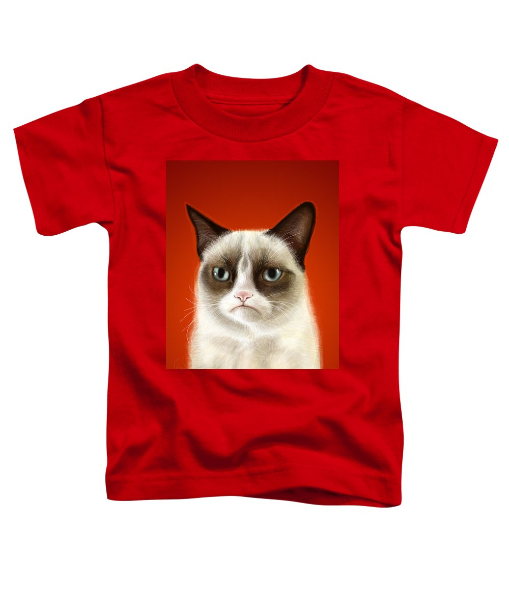 Grumpy Toddler T-Shirt featuring the digital art Grumpy Cat by Olga Shvartsur