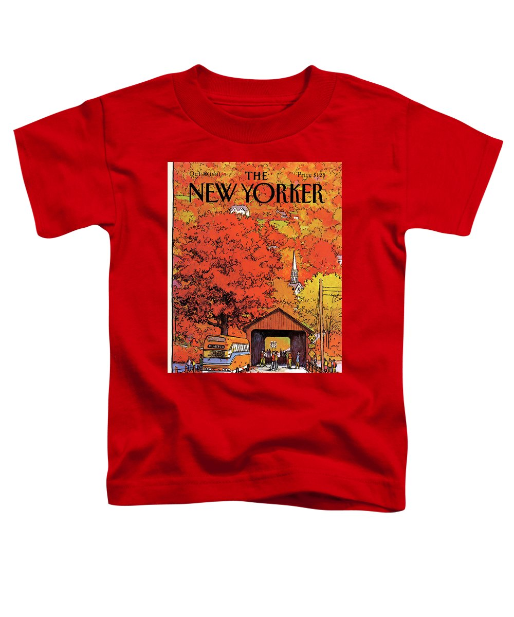 Season Toddler T-Shirt featuring the painting New Yorker October 19th, 1981 by Arthur Getz