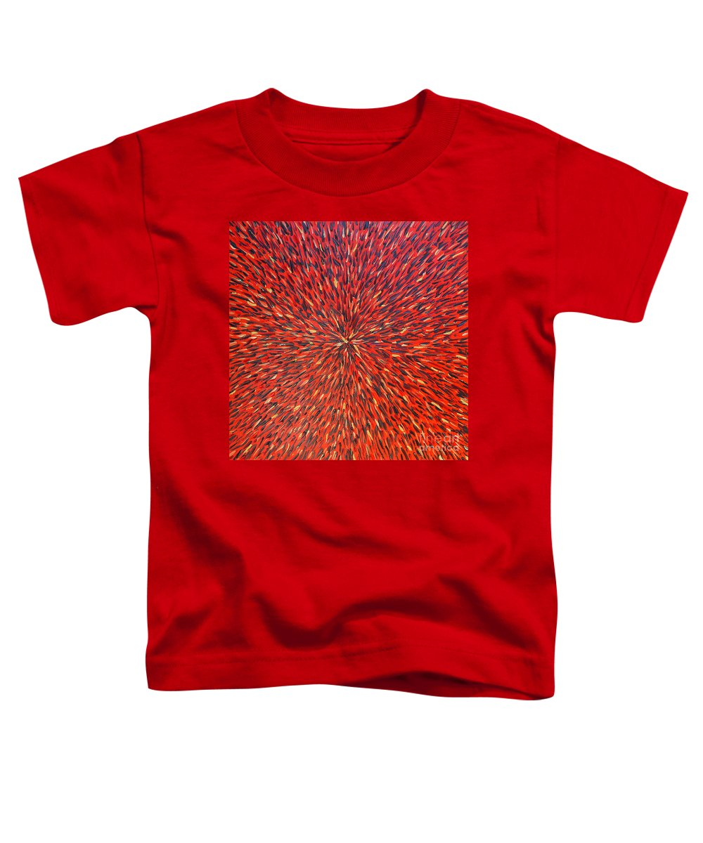 Abstract Toddler T-Shirt featuring the painting Radiation Red by Dean Triolo