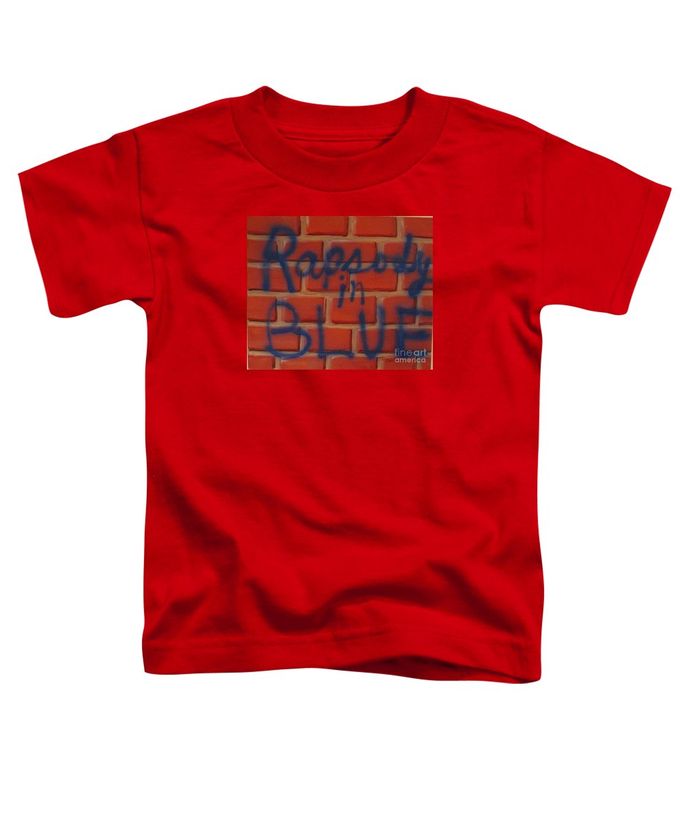Abstract Toddler T-Shirt featuring the painting Rapsody In Blue by Laurie Morgan