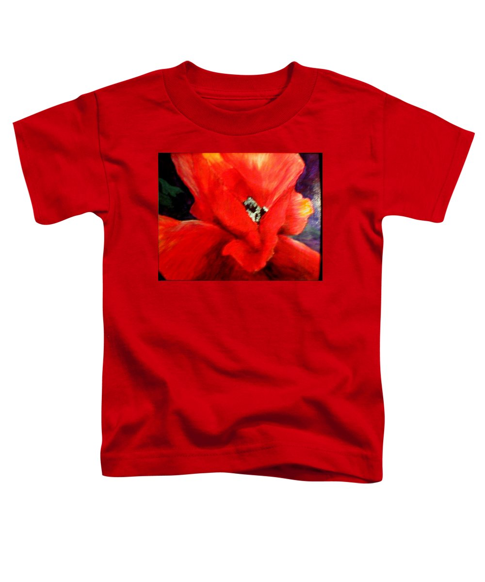 Floral Toddler T-Shirt featuring the painting She Wore Red Ruffles by Gail Kirtz