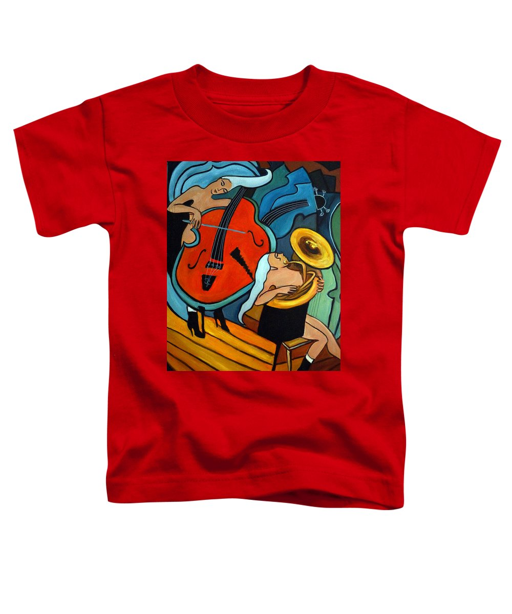 Musician Abstract Toddler T-Shirt featuring the painting The Tuba Player by Valerie Vescovi
