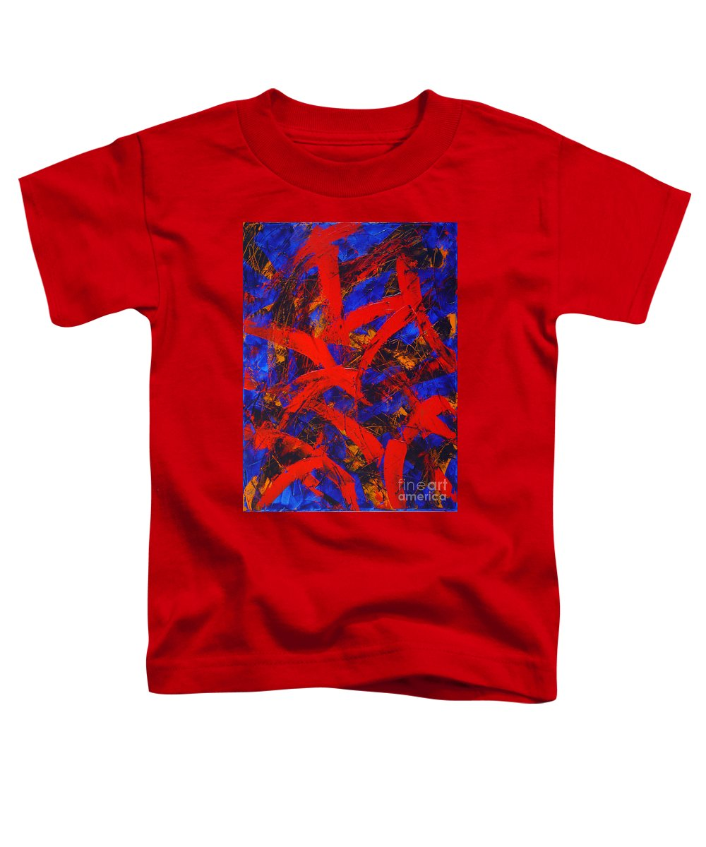 Abstract Toddler T-Shirt featuring the painting Transitions With Blue And Red by Dean Triolo