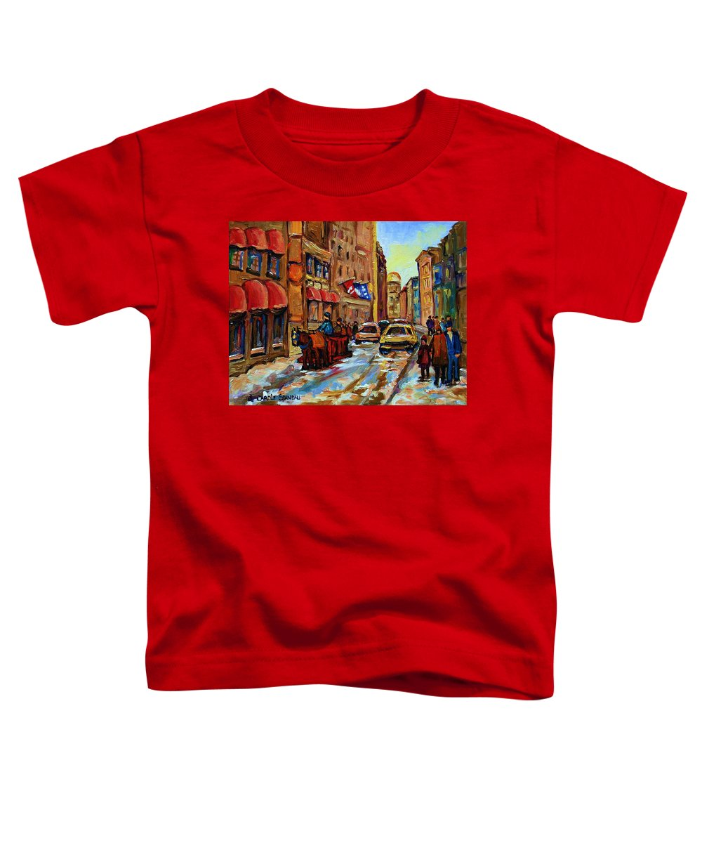 Horses Toddler T-Shirt featuring the painting The Red Sled by Carole Spandau