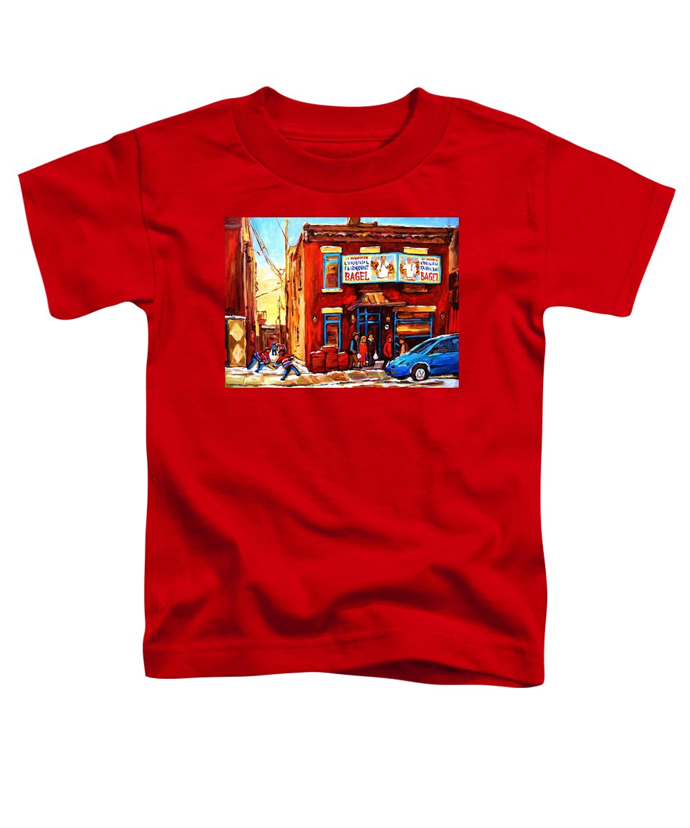 Hockey Toddler T-Shirt featuring the painting Fairmount Bagel In Winter by Carole Spandau