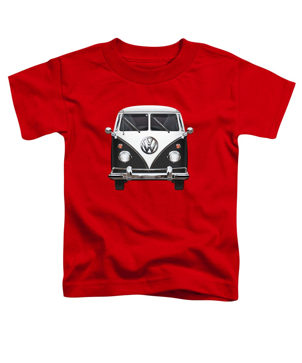 'volkswagen Type 2' Collection By Serge Averbukh Toddler T-Shirt featuring the photograph Volkswagen Type 2 - Black And White Volkswagen T 1 Samba Bus On Red by Serge Averbukh