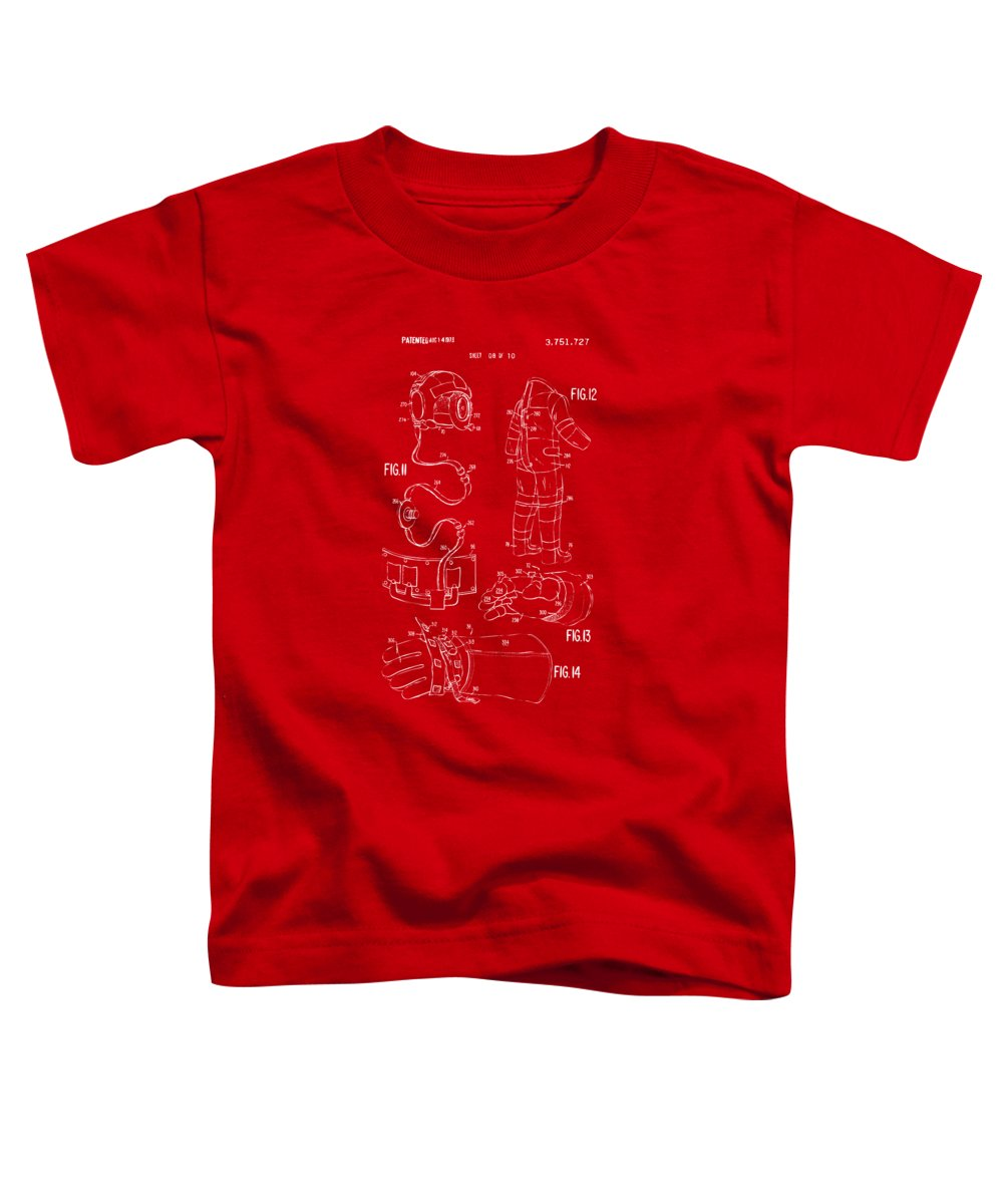 Space Suit Toddler T-Shirt featuring the digital art 1973 Space Suit Elements Patent Artwork - Red by Nikki Marie Smith