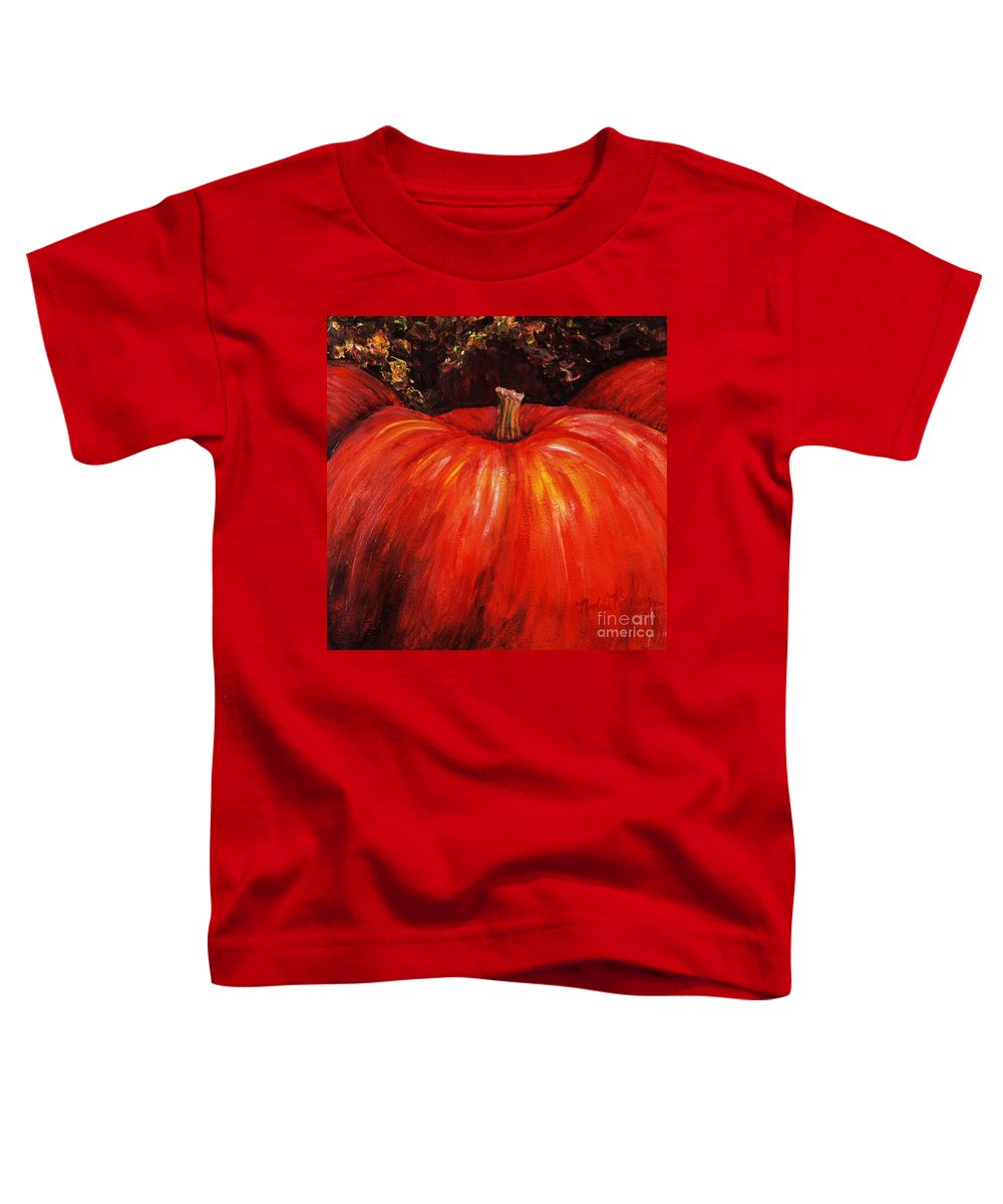 Orange Toddler T-Shirt featuring the painting Autumn Pumpkins by Nadine Rippelmeyer