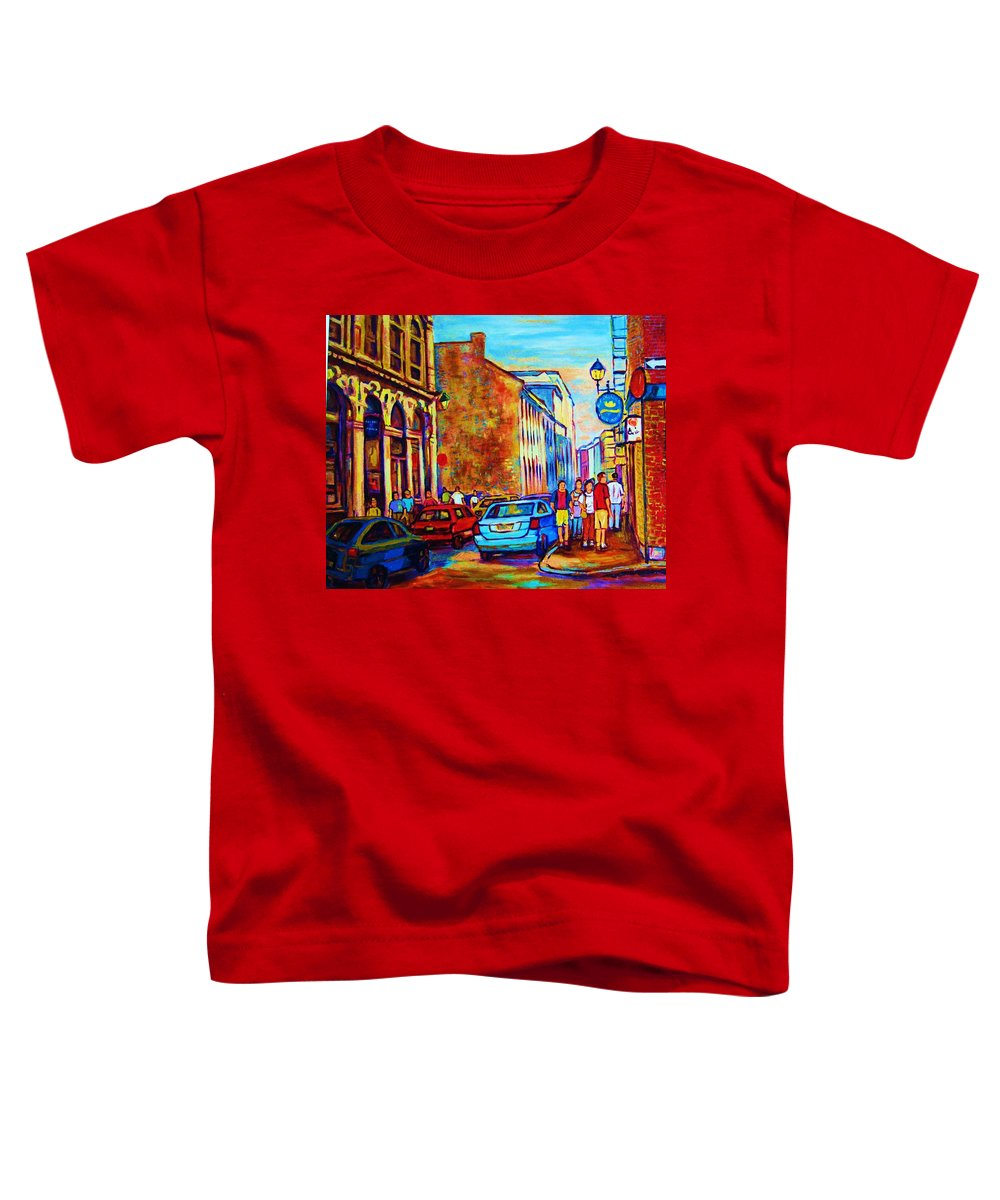 Montreal Toddler T-Shirt featuring the painting Blue Cars At The Resto Bar by Carole Spandau