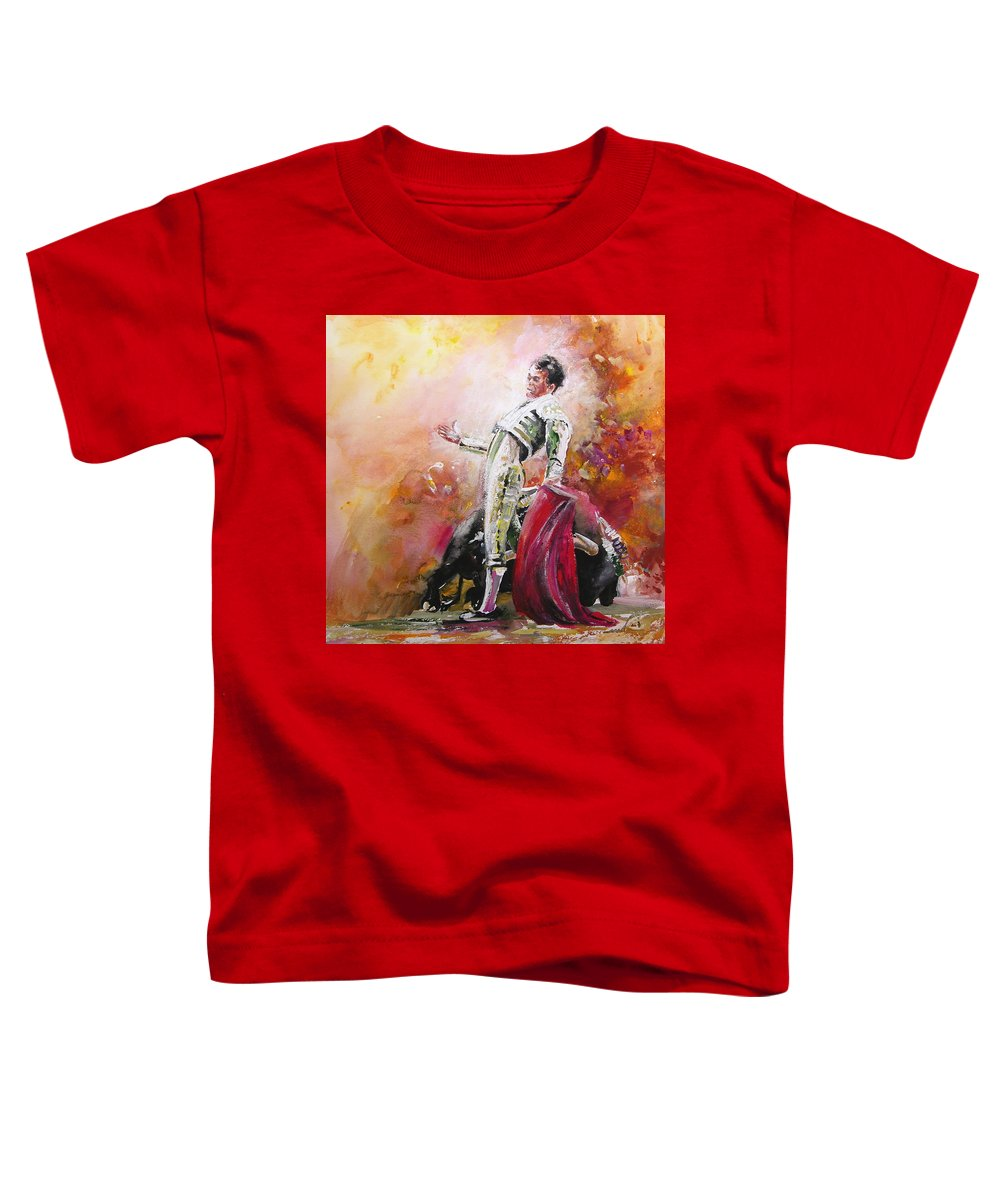 Animals Toddler T-Shirt featuring the painting Bullfight 24 by Miki De Goodaboom