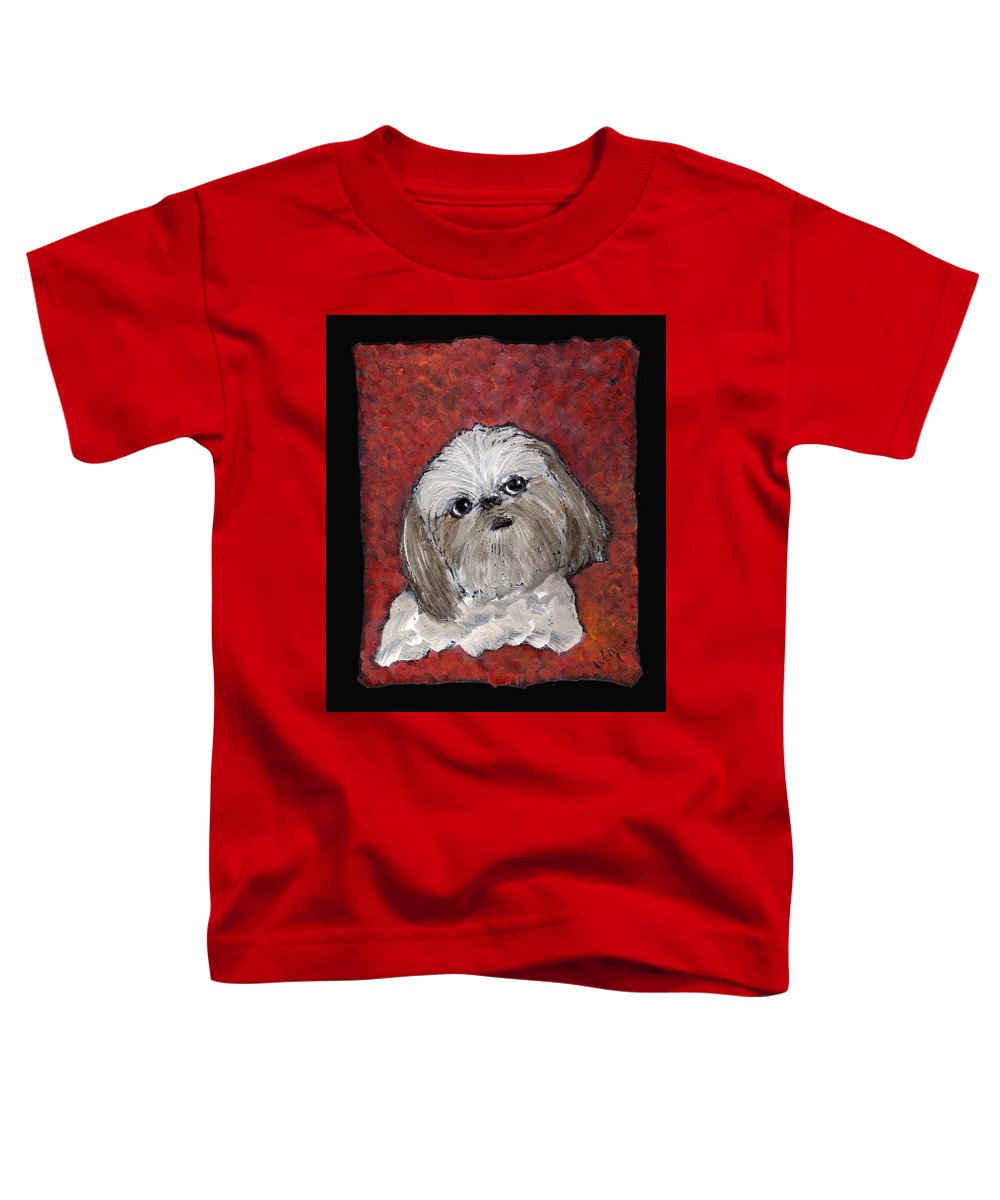 Dog Toddler T-Shirt featuring the painting Buster by Wayne Potrafka
