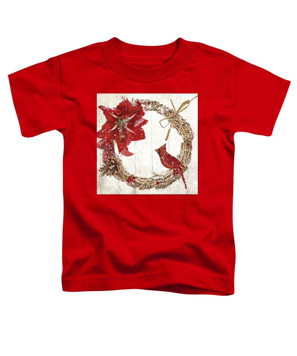 Cardinal Toddler T-Shirt featuring the painting Cardinal Holiday II by Mindy Sommers