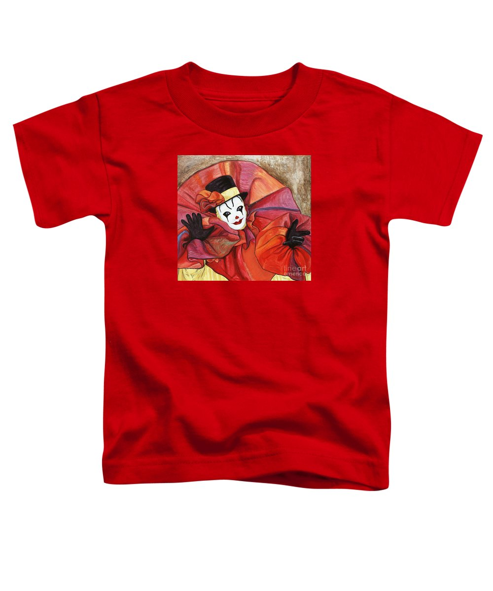 Clown Toddler T-Shirt featuring the painting Carnival Clown by Patty Vicknair