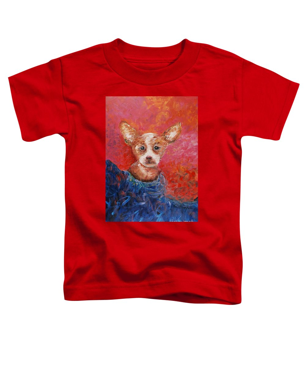 Dog Toddler T-Shirt featuring the painting Chihuahua Blues by Nadine Rippelmeyer