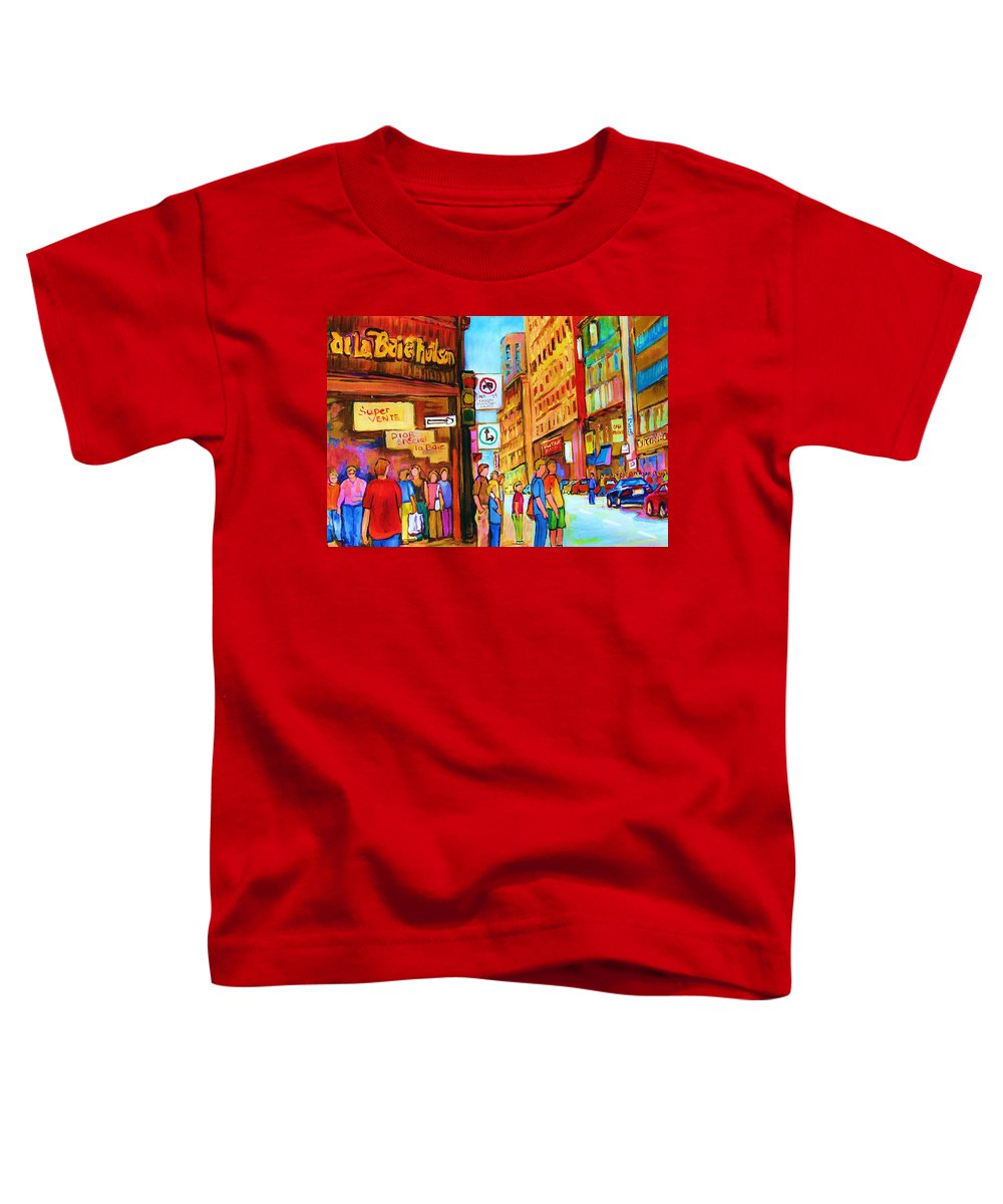 Cityscape Toddler T-Shirt featuring the painting Downtown by Carole Spandau