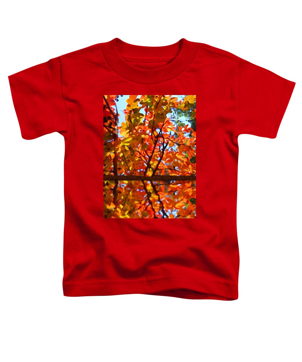 Trees Toddler T-Shirt featuring the painting Fall Reflextion by Amy Vangsgard