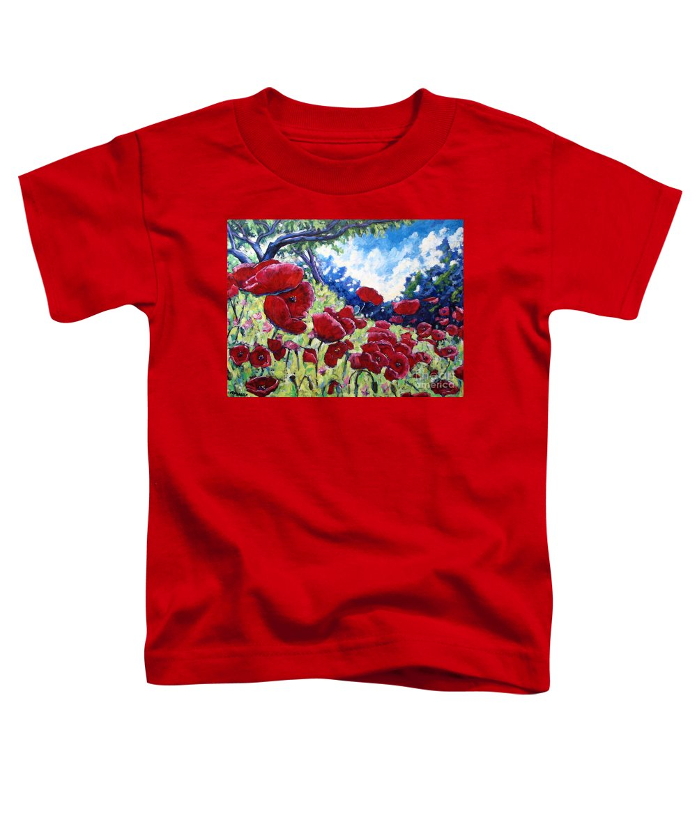 Poppies Toddler T-Shirt featuring the painting Field Of Poppies 02 by Richard T Pranke