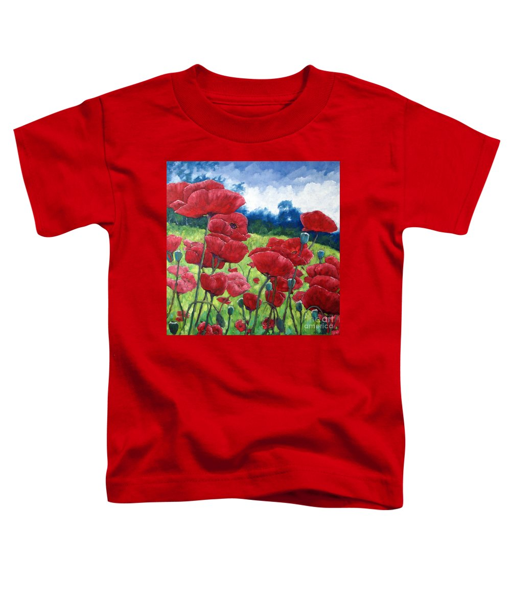 Poppies Toddler T-Shirt featuring the painting Field Of Poppies by Richard T Pranke