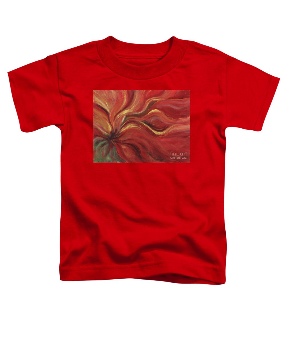 Red Toddler T-Shirt featuring the painting Flaming Flower by Nadine Rippelmeyer