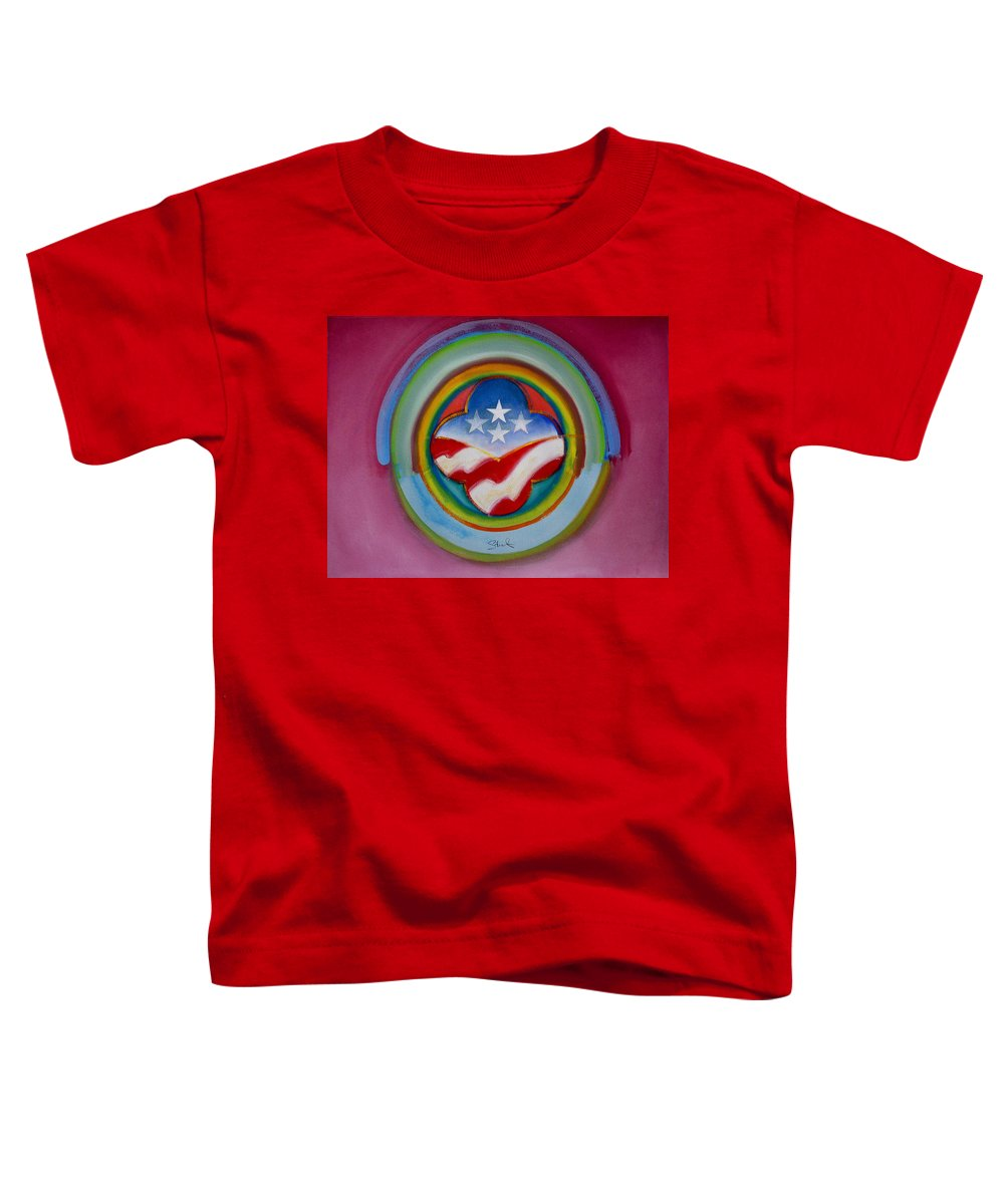 Button Toddler T-Shirt featuring the painting Four Star Button by Charles Stuart