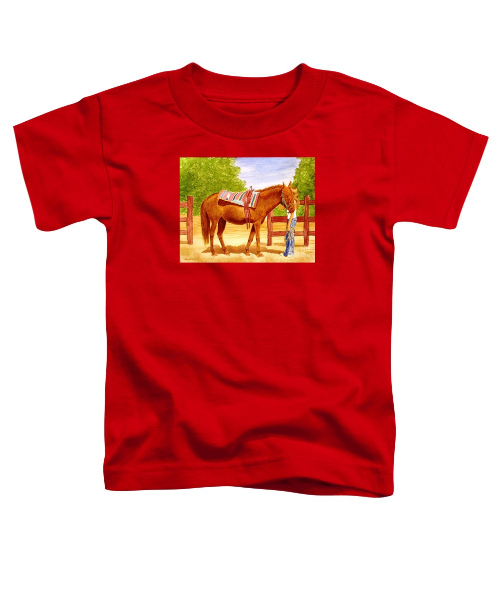 Equine Toddler T-Shirt featuring the painting Girl Talk by Stacy C Bottoms