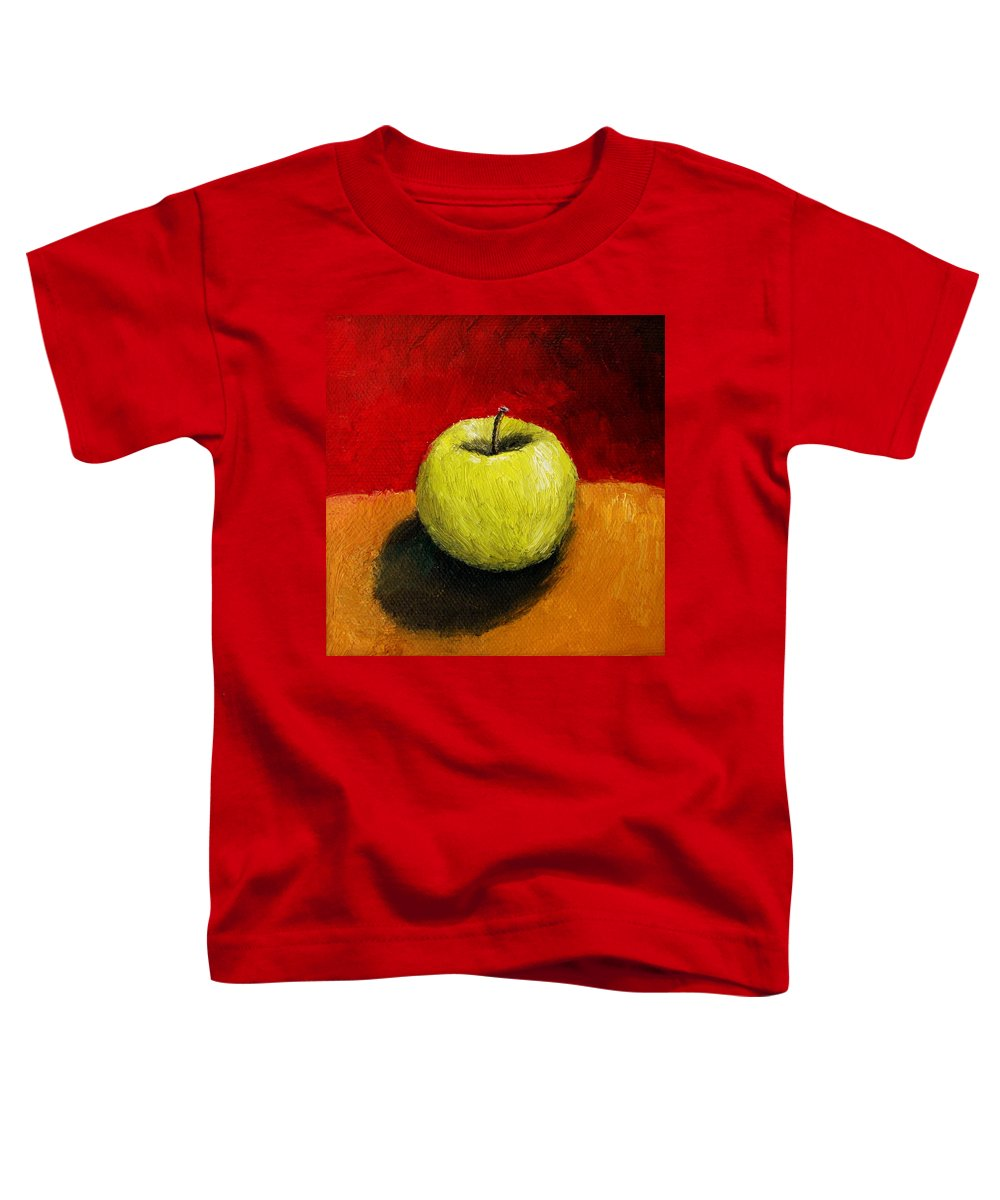 Apple Toddler T-Shirt featuring the painting Green Apple With Red And Gold by Michelle Calkins