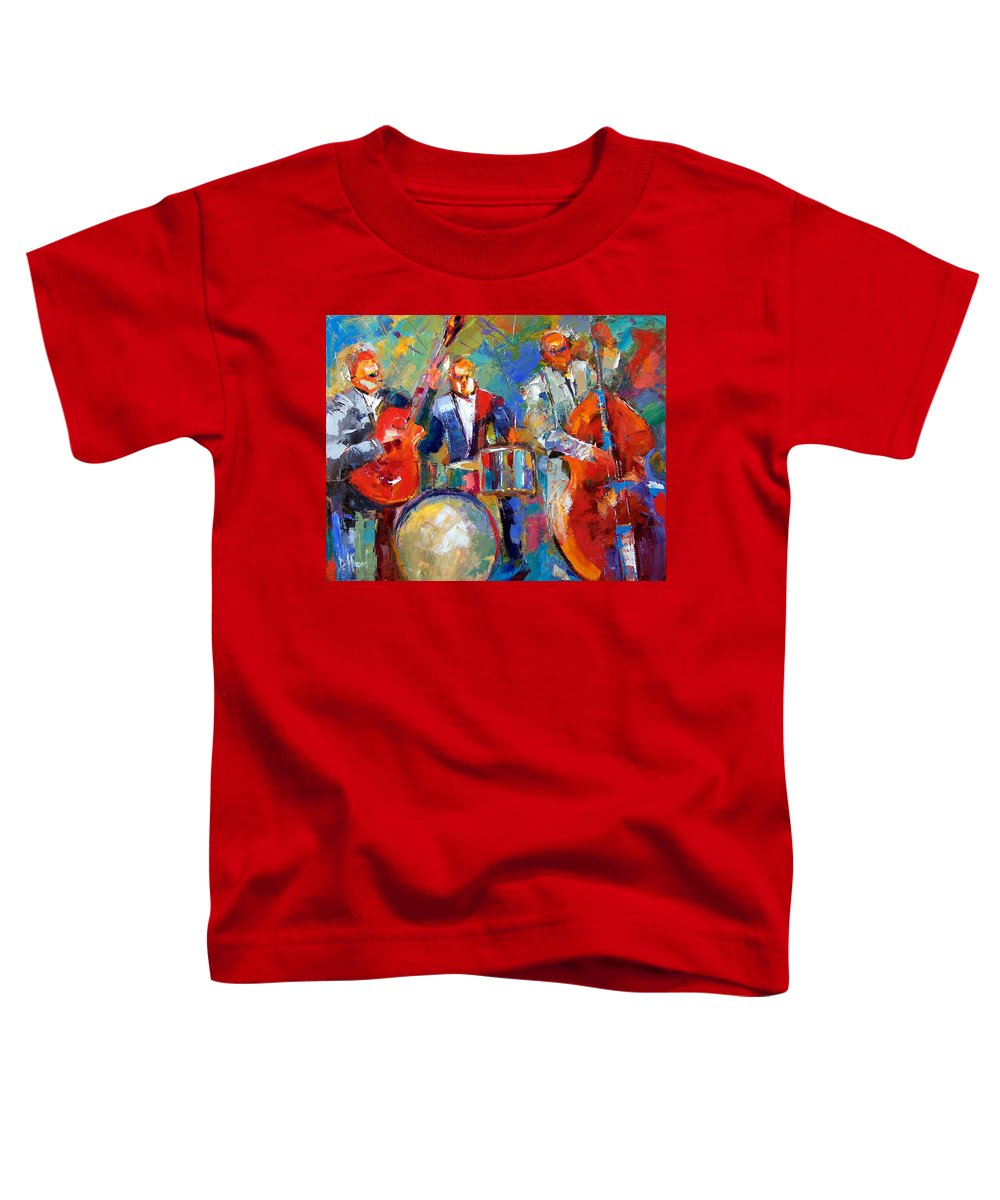 Jazz Painting Toddler T-Shirt featuring the painting Guitar Drums And Bass by Debra Hurd