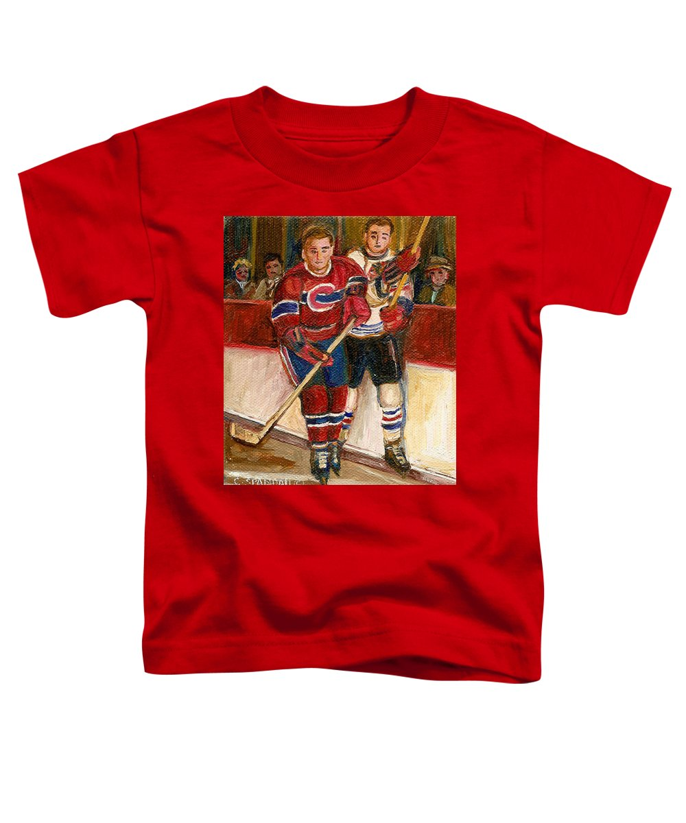 Hockey Toddler T-Shirt featuring the painting Hockey Stars At The Forum by Carole Spandau