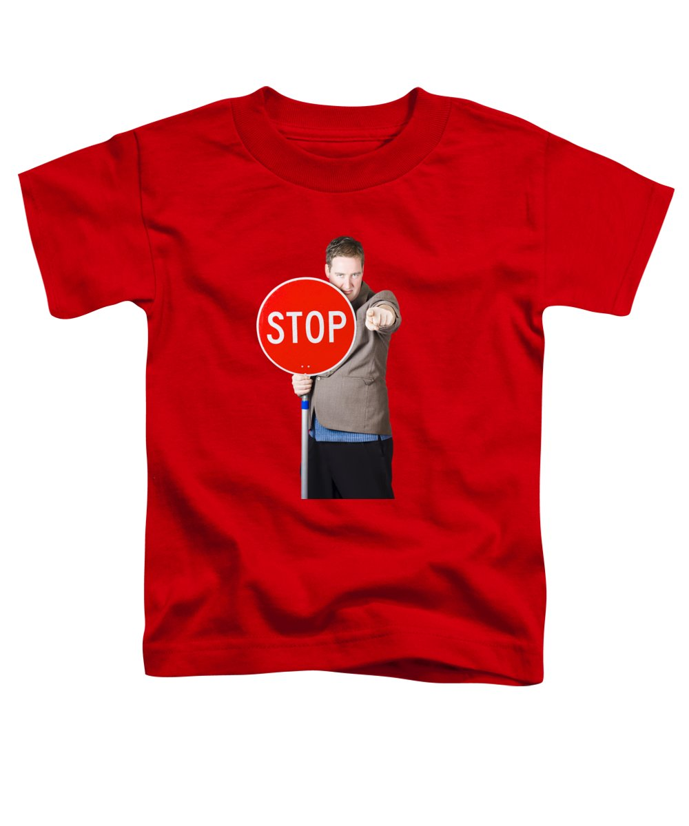 Stop Toddler T-Shirt featuring the photograph Isolated Man Holding Red Traffic Stop Sign by Jorgo Photography - Wall Art Gallery