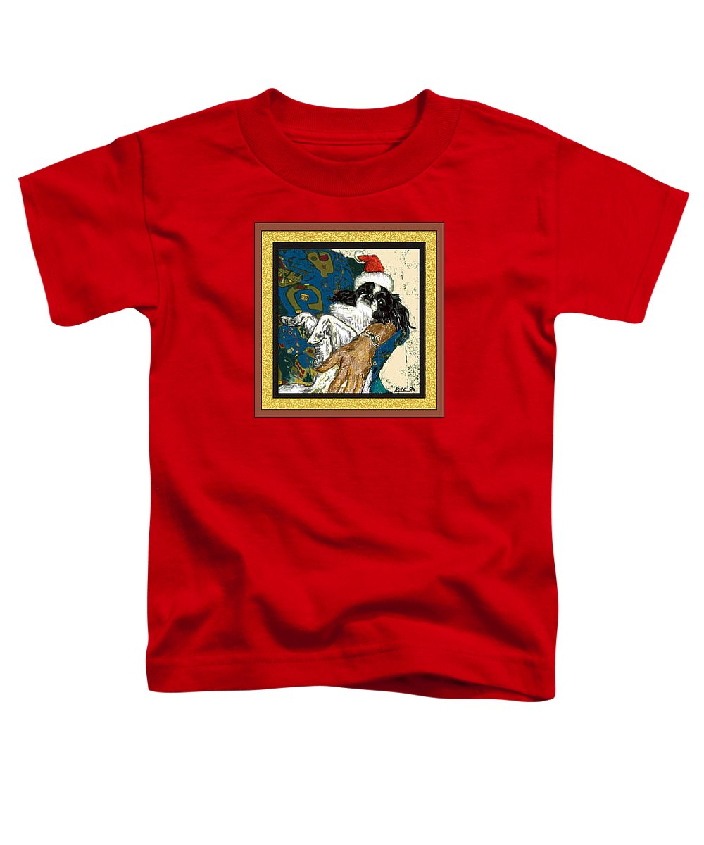 Japanese Chin Toddler T-Shirt featuring the digital art Japanese Chin Christmas by Kathleen Sepulveda
