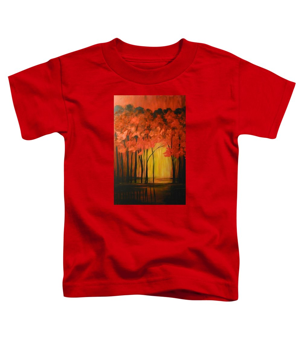 Abstract Toddler T-Shirt featuring the painting Japanese Forest by Sabina Surya Naya