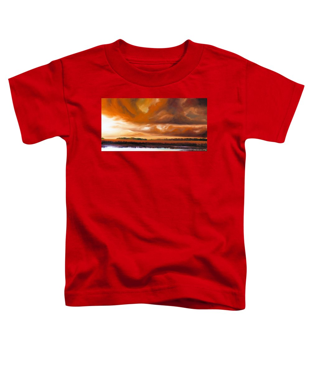 Clouds Toddler T-Shirt featuring the painting Jetties On The Shore by James Christopher Hill