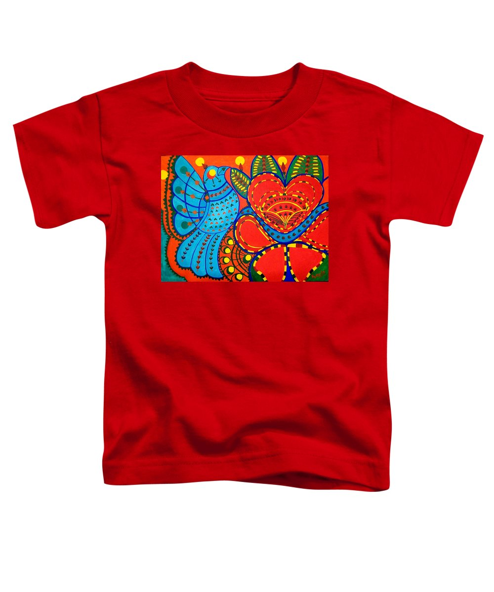 Contemporary Folk Toddler T-Shirt featuring the painting Jinga Bird - Jinga Bird Series by Fareeha Khawaja