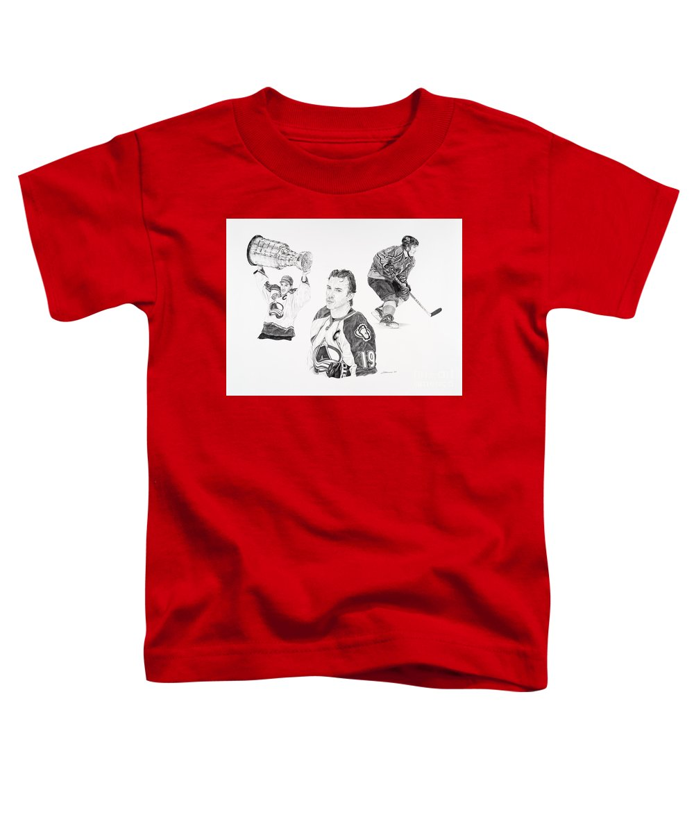 Hockey Toddler T-Shirt featuring the drawing Joe Sakic by Shawn Stallings