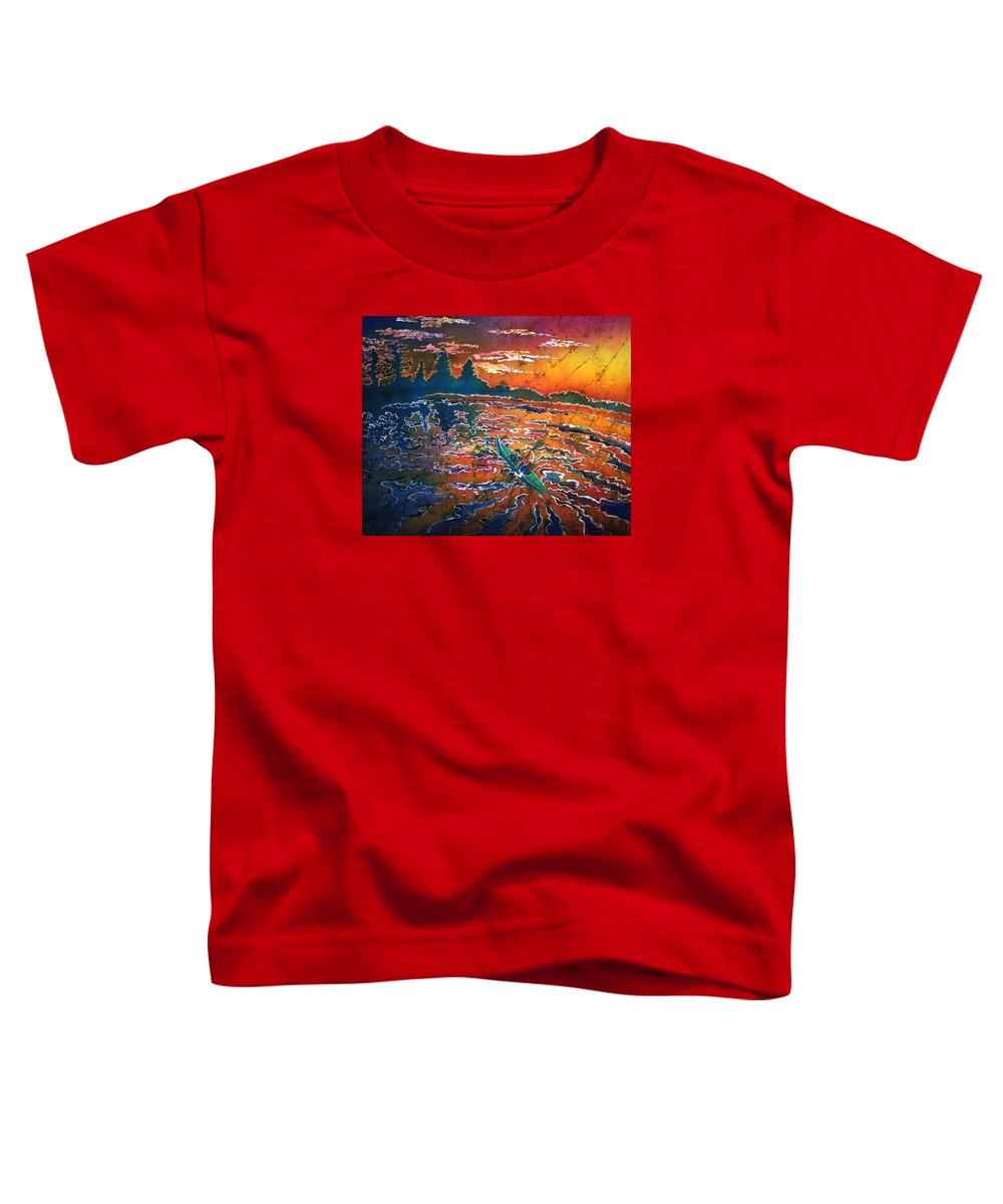 Kayak Toddler T-Shirt featuring the painting Kayak Serenity by Sue Duda