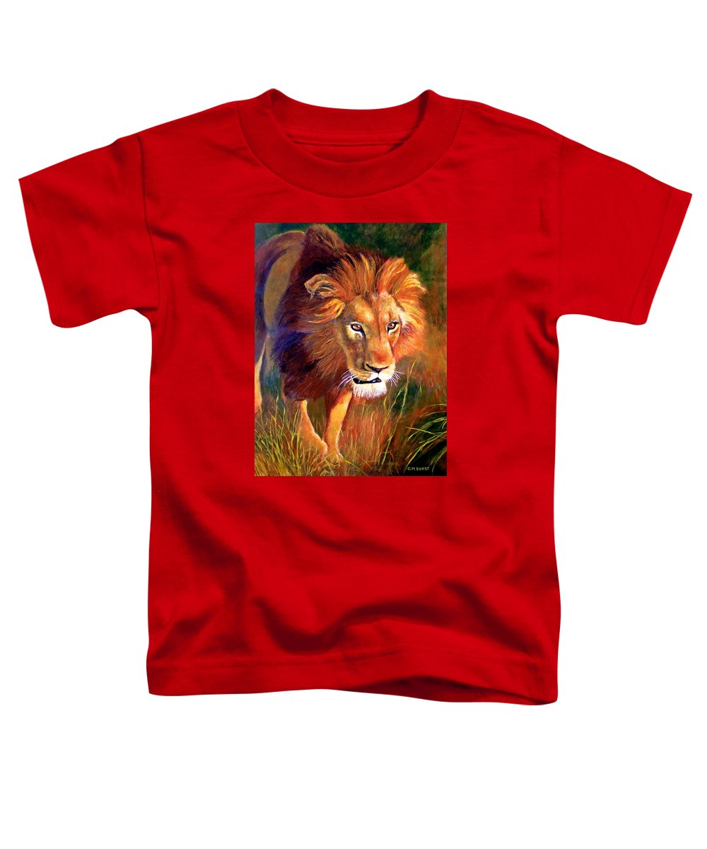 Lion Toddler T-Shirt featuring the painting Lion At Sunset by Michael Durst