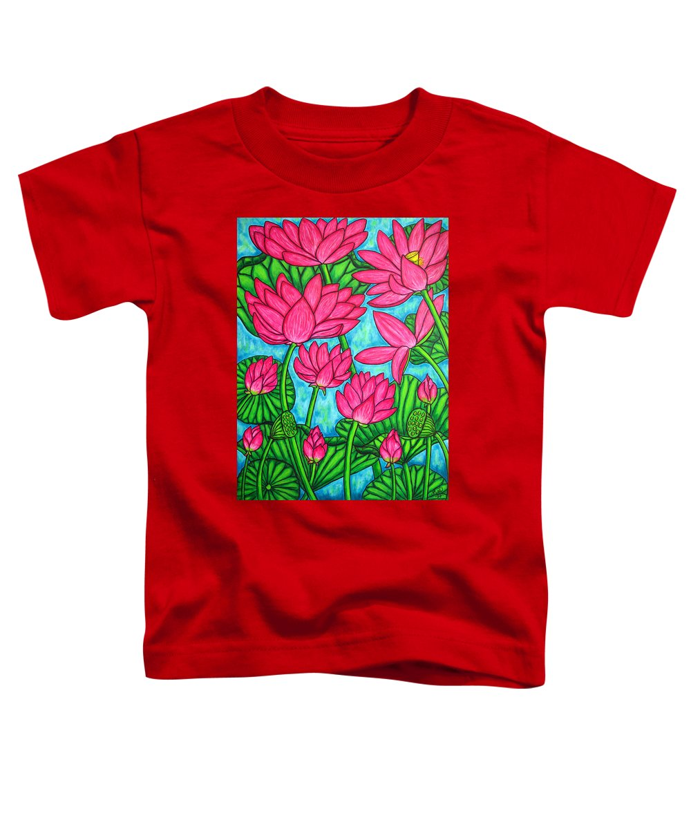Toddler T-Shirt featuring the painting Lotus Bliss by Lisa Lorenz