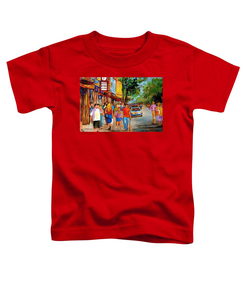 Montreal Streetscenes Toddler T-Shirt featuring the painting Lunchtime On Mainstreet by Carole Spandau