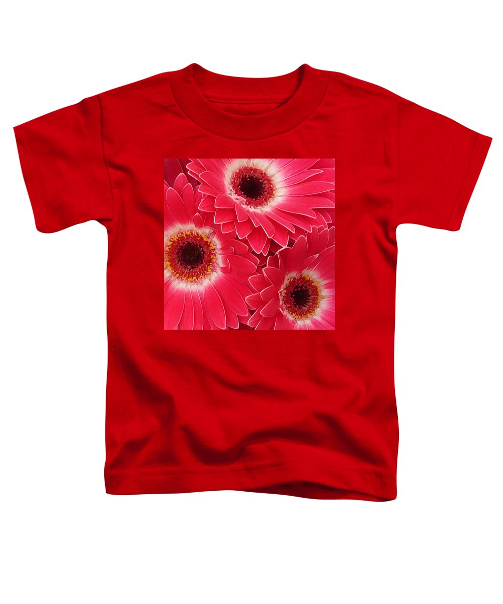 Daisy Toddler T-Shirt featuring the painting Magenta Gerber Daisies by Amy Vangsgard