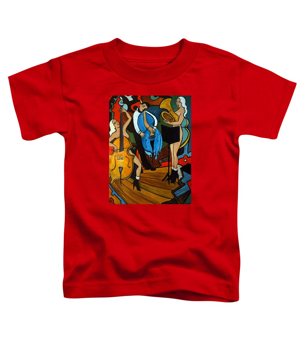 Musician Abstract Toddler T-Shirt featuring the painting Melting Jazz by Valerie Vescovi