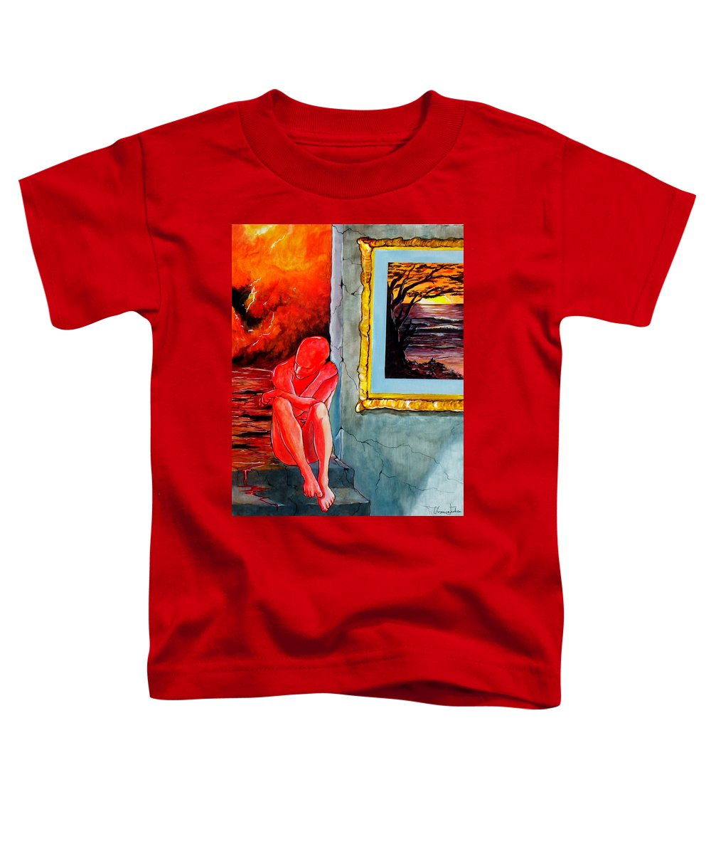 War Sunset Bombs Explosion Wait Loneliness Frustration Toddler T-Shirt featuring the painting Memoirs Of A Bloody Sunset by Veronica Jackson