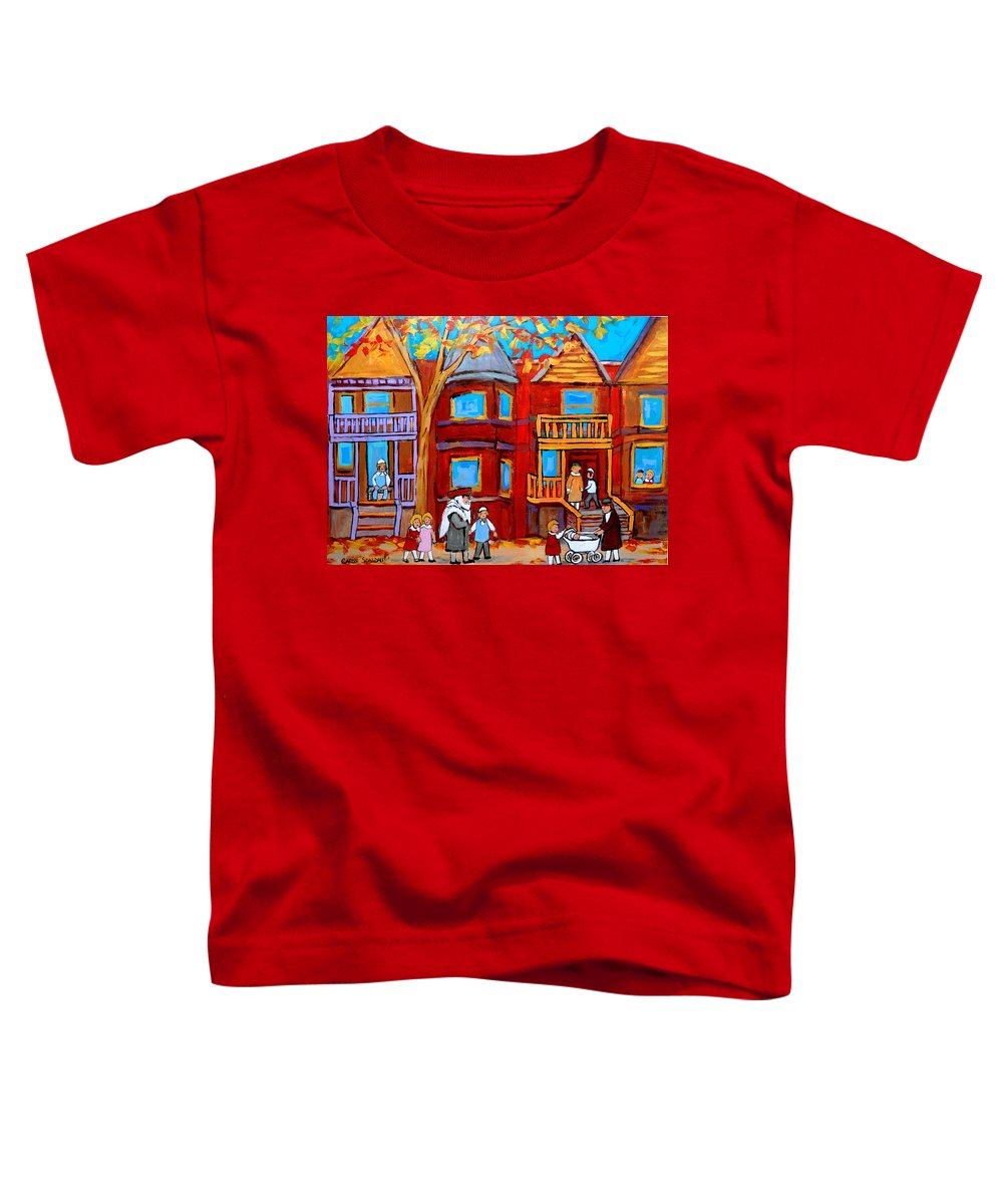 Outremont Toddler T-Shirt featuring the painting Montreal Memories Of Zaida And The Family by Carole Spandau
