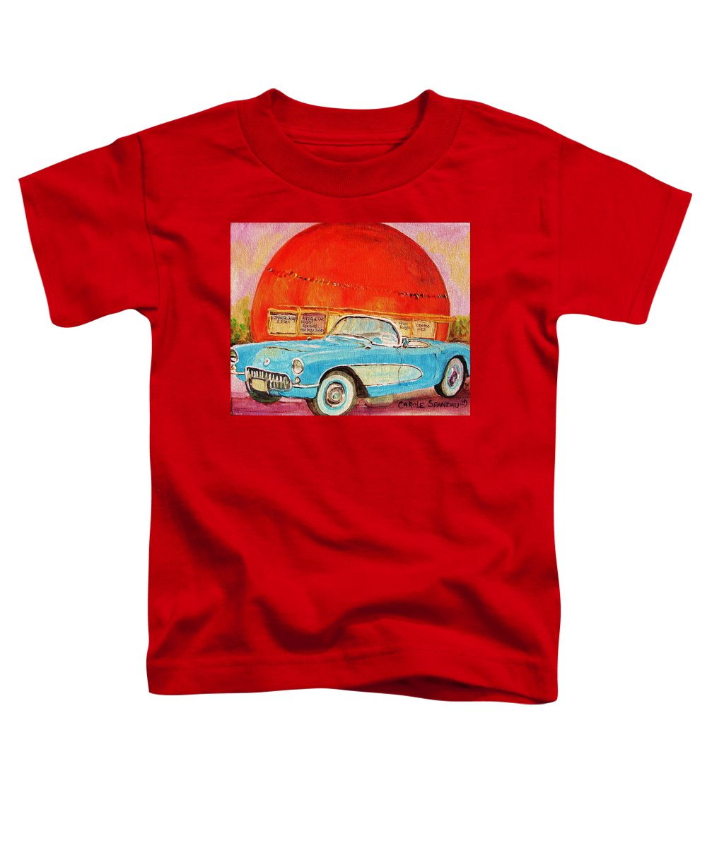 Montreal Toddler T-Shirt featuring the painting My Blue Corvette At The Orange Julep by Carole Spandau