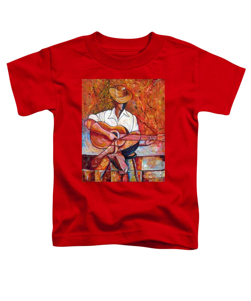 Cuba Art Toddler T-Shirt featuring the painting My Guitar by Jose Manuel Abraham