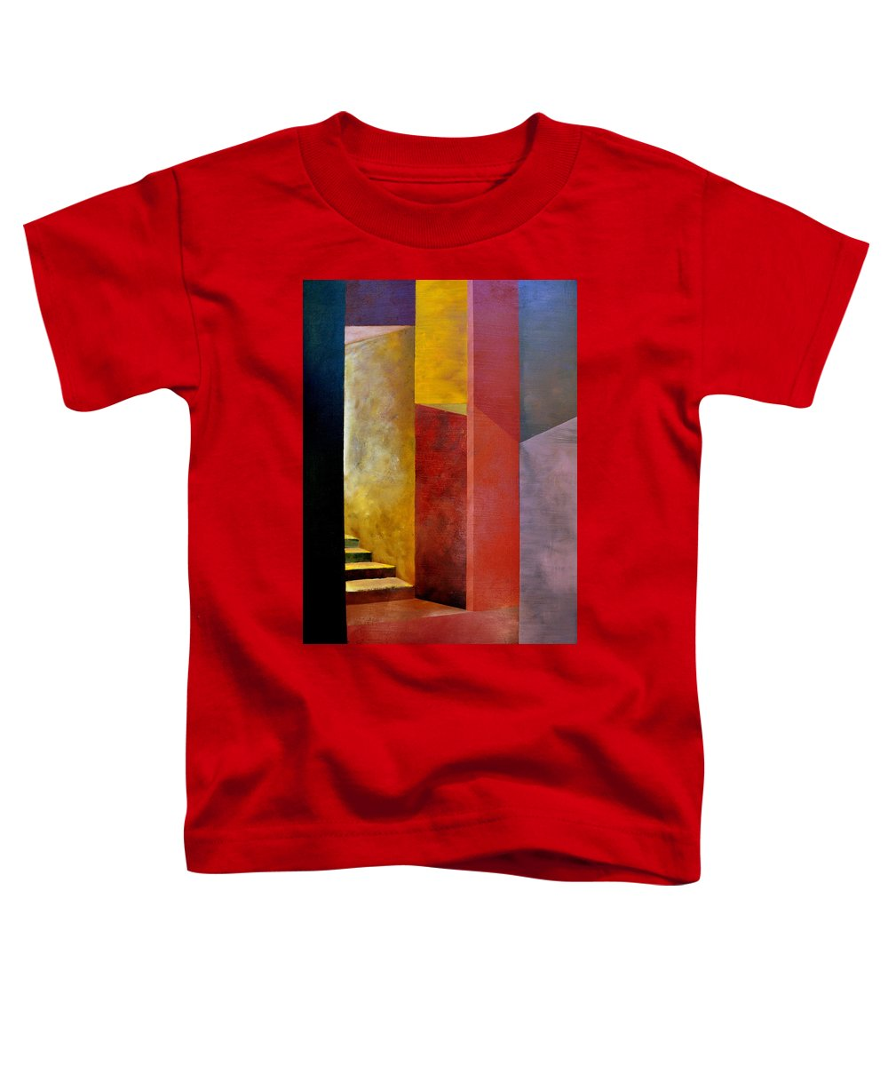 Gold Toddler T-Shirt featuring the painting Mystery Stairway by Michelle Calkins