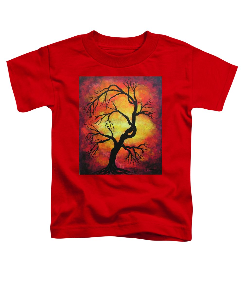Acrylic Toddler T-Shirt featuring the painting Mystic Firestorm by Jordanka Yaretz