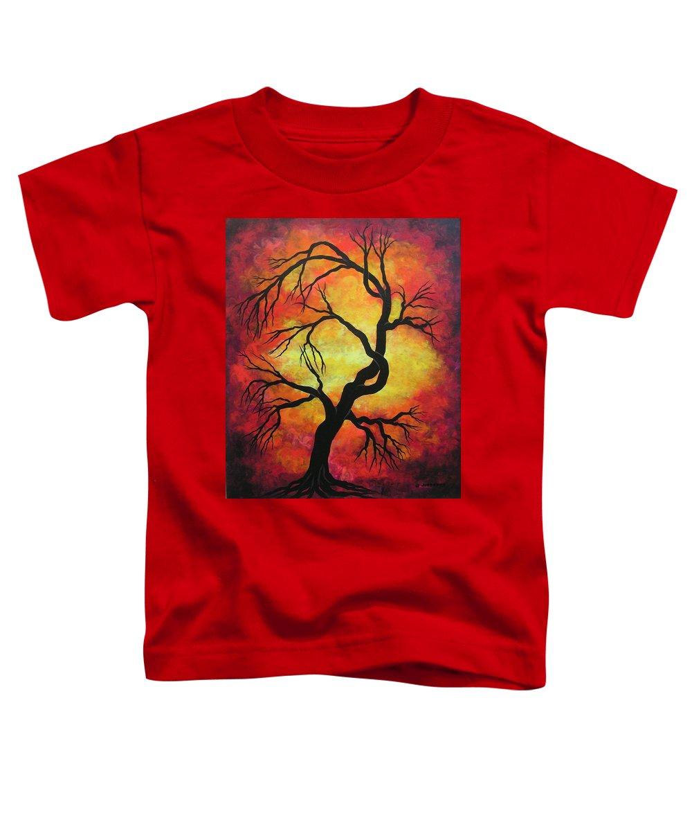 Acrylic Toddler T-Shirt featuring the painting Mystic Firestorm by Jordanka Yaretz