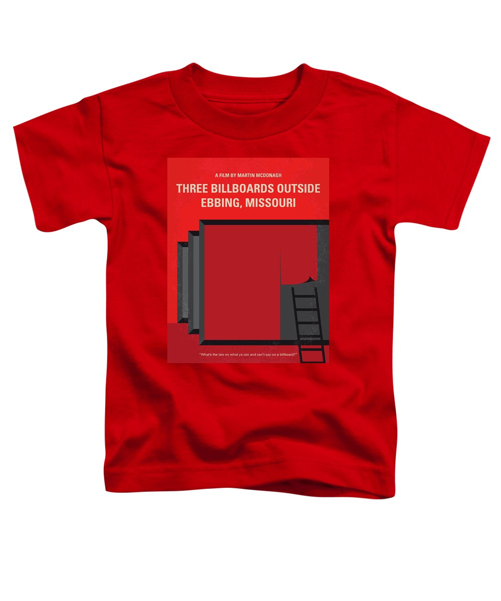 Three Toddler T-Shirt featuring the digital art No900 My Three Billboards Minimal Movie Poster by Chungkong Art