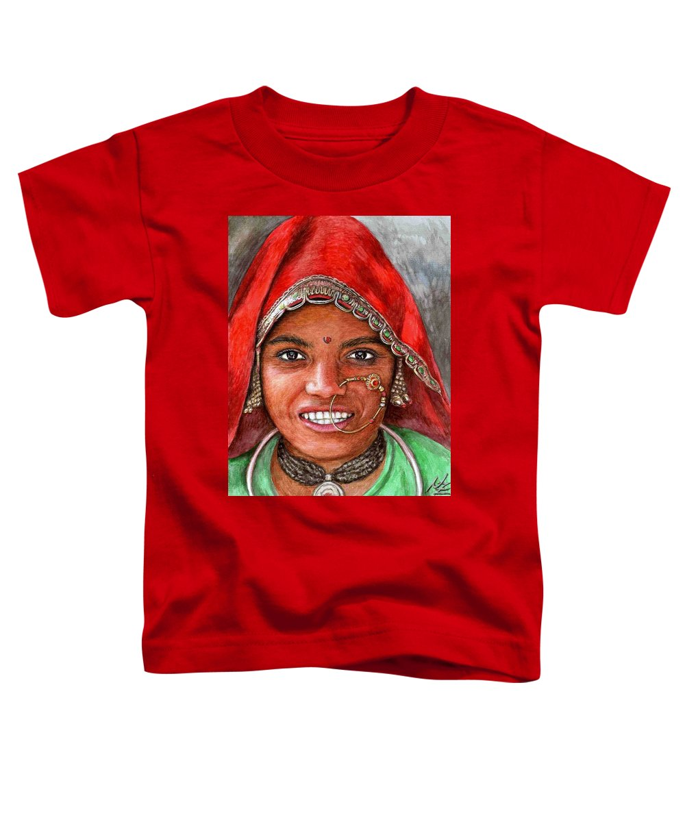 Woma Toddler T-Shirt featuring the painting Northindian Woman by Nicole Zeug